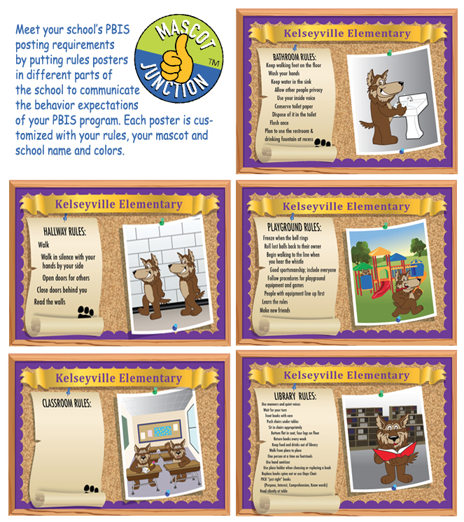 Rules Posters PBIS Wolf Mascot
