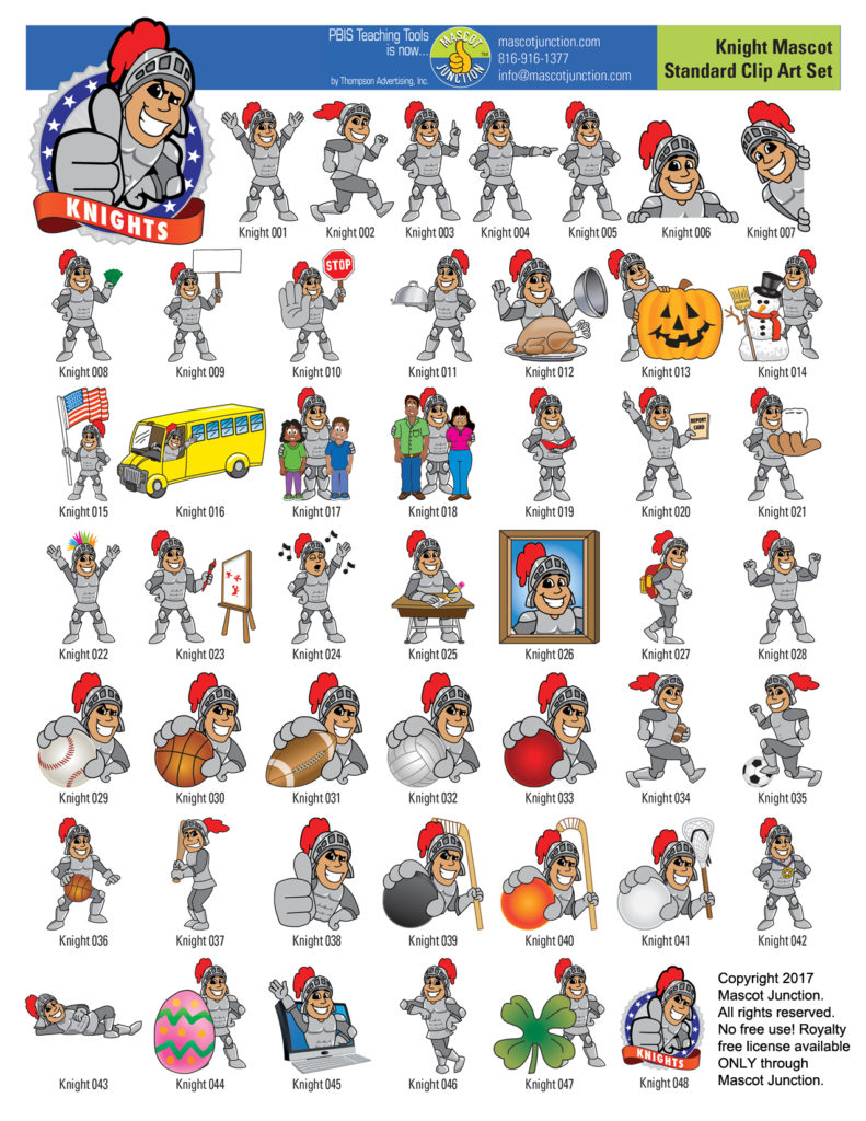 Knight Mascot Clip Art Images