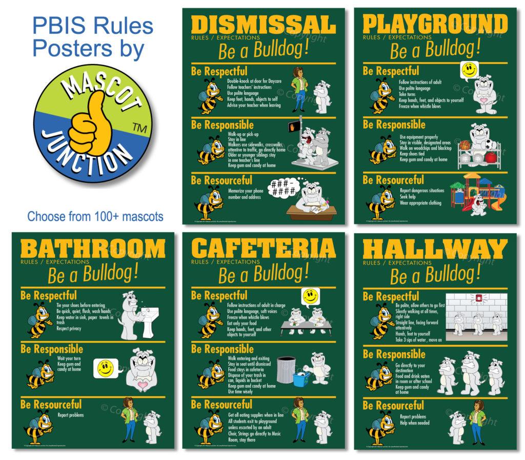 Bulldog Mascot Rules Posters PBIS