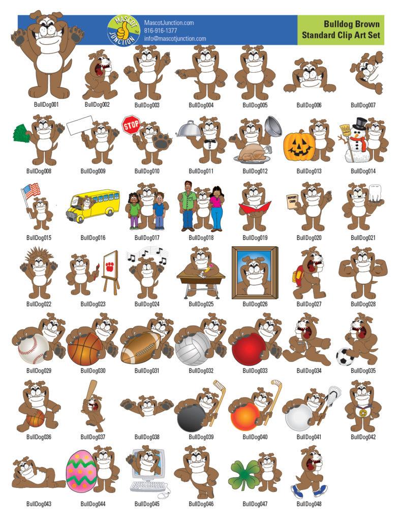 Bulldog Mascot Clip Art Illustrations