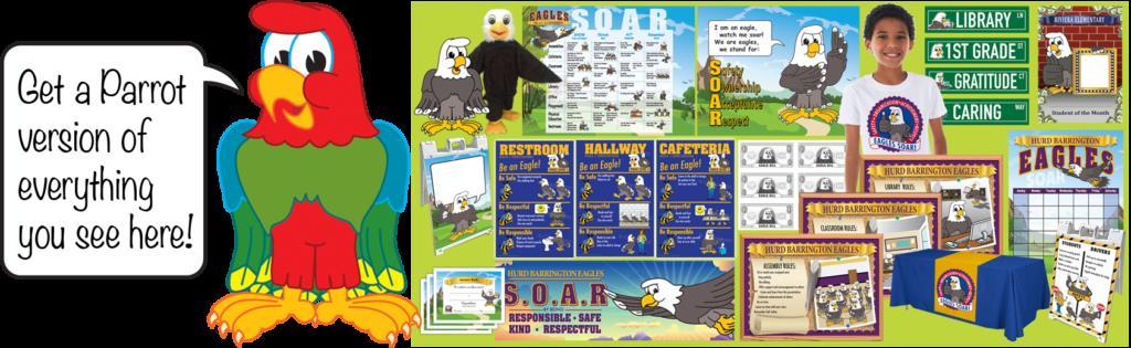 PBIS Posters Parrot Mascot Clip Art