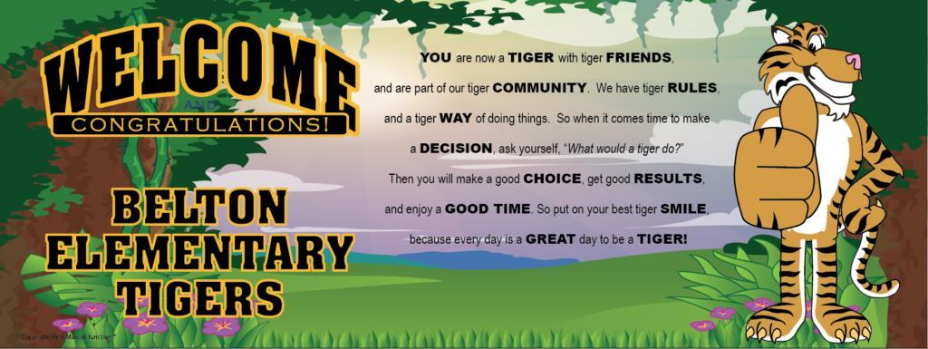 Tiger Mascot Banner School