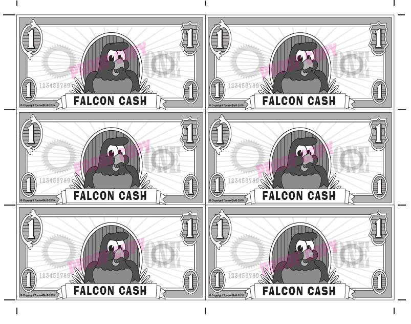 Gotcha Reward template features the falcon mascot and has six rewards per page. Custom Gotcha Rewards also available featuring your school's PBIS theme and a cut-off tracking slip.