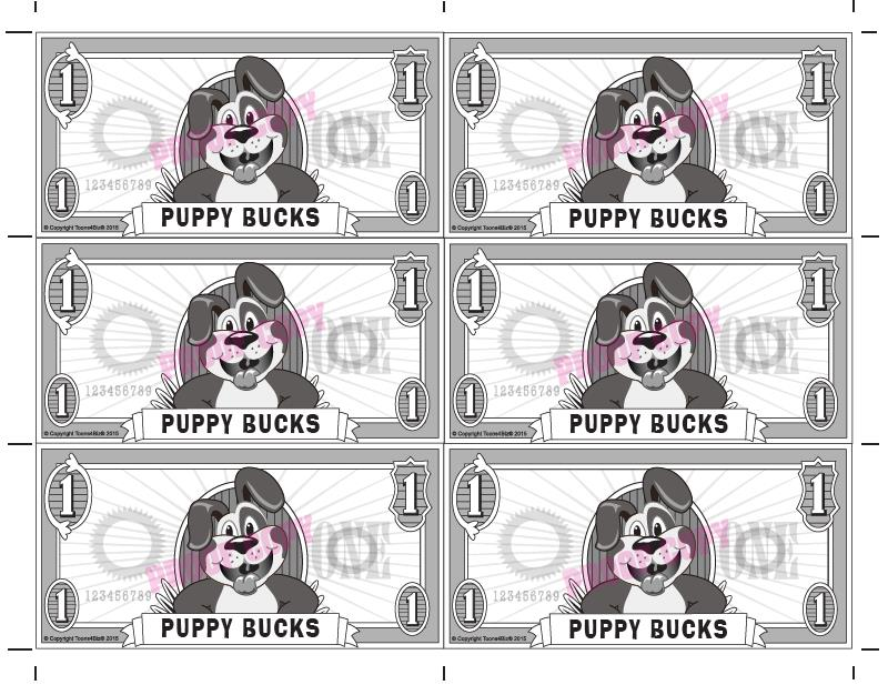 Gotcha Reward template features the puppy mascot and has six rewards per page. Custom Gotcha Rewards also available featuring your school's PBIS theme and a cut-off tracking slip.
