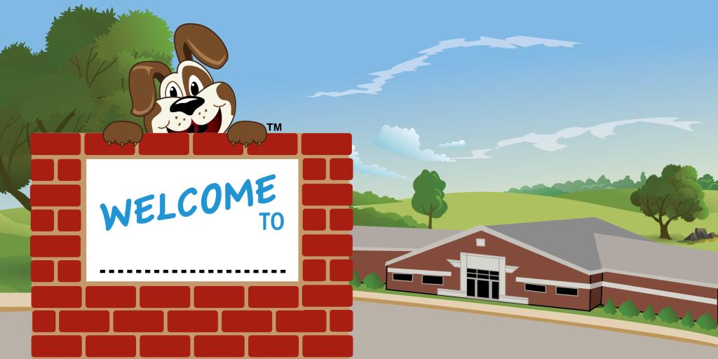 Puppy Mascot School Welcome Banner