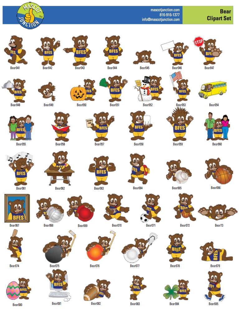 Bear Mascot Clip Art Graphics
