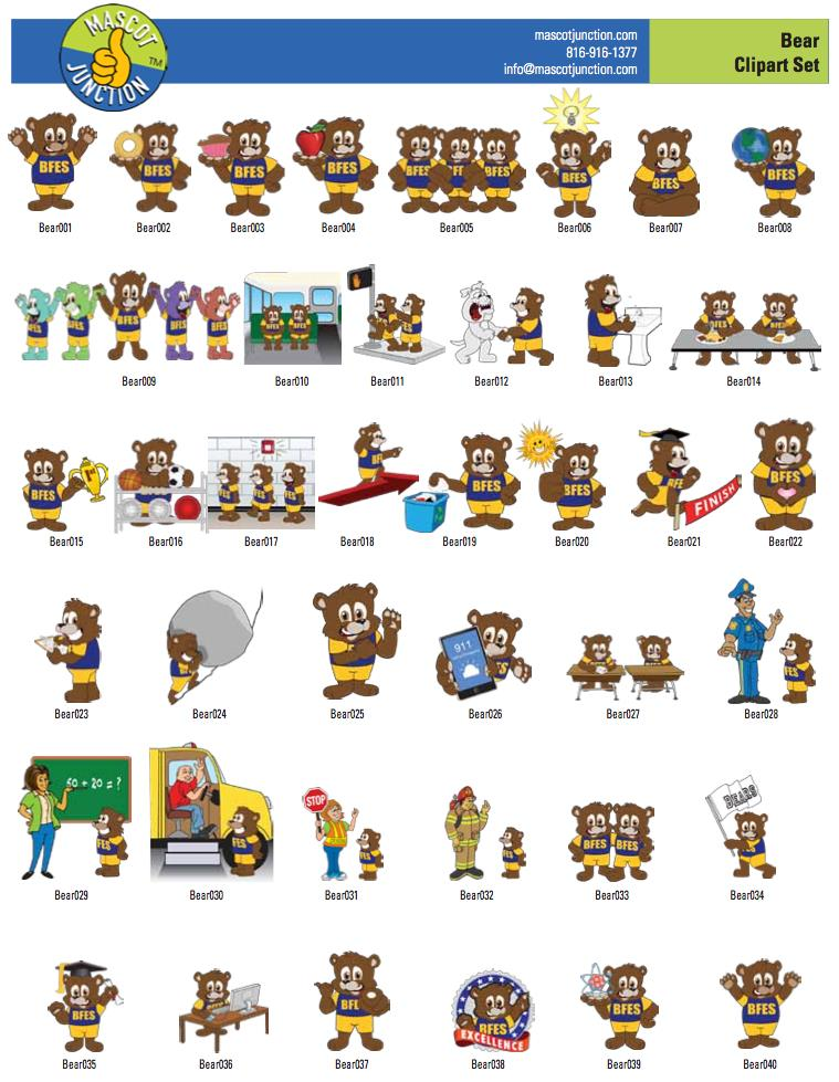 bear Mascot Clip Art Illustrations