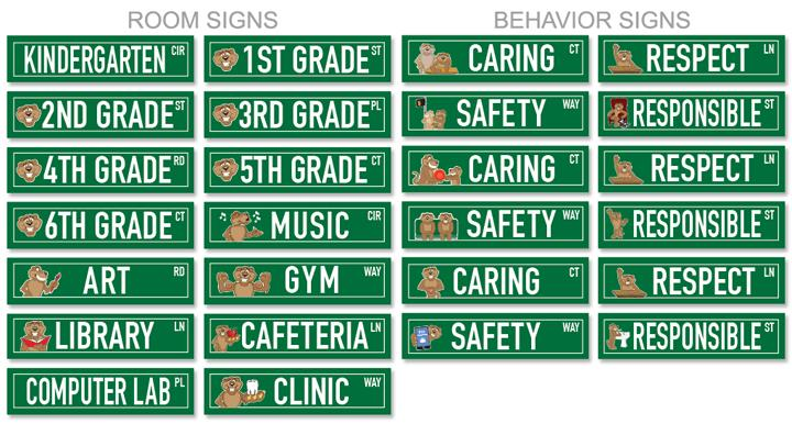 Bobcat hallway street signs