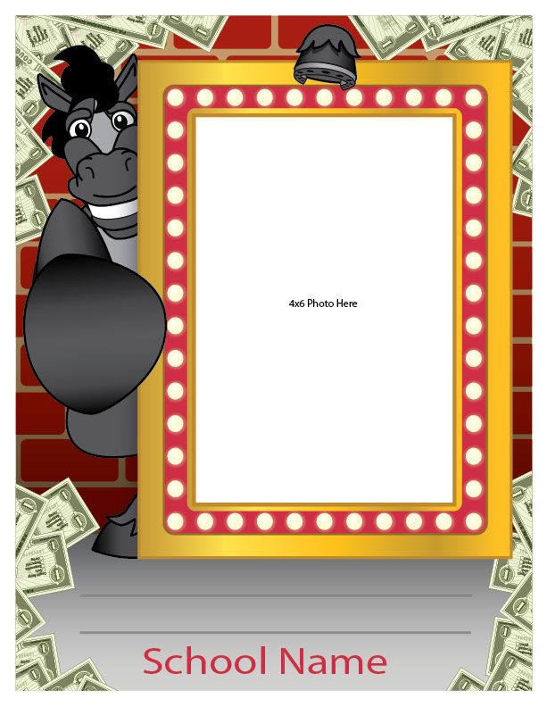 "The student spotlight frames are made to recognize student achievements throughout the school for all to see. Simply write in the student name and add an image. They are completely customized with your mascot, school name and any other information you want. Receive the digital files to print your own at 8.5""x11"". Or order laminated posters from us at 18""x24"" and place an 8.5""x11"" image."
