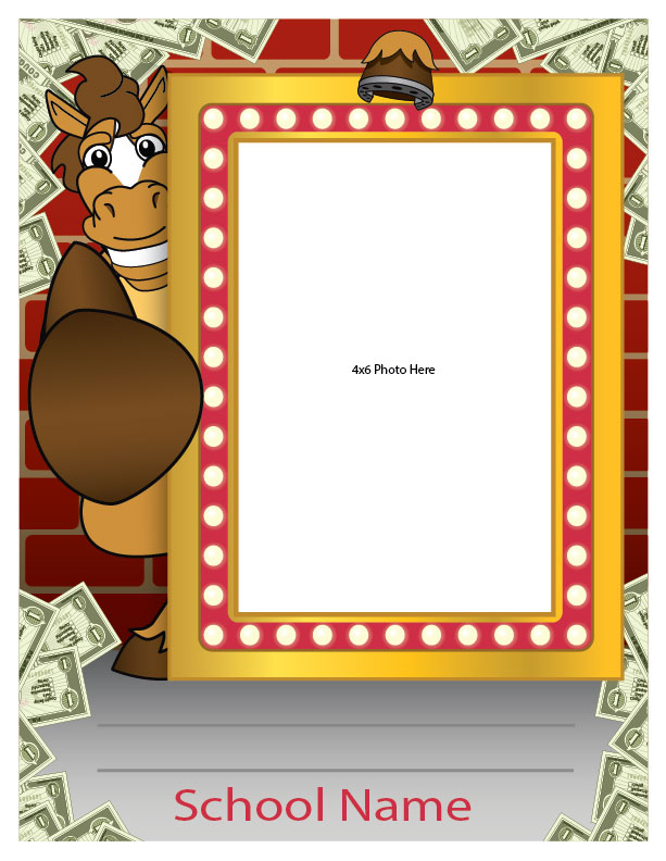 """The student spotlight frames are made to recognize student achievements throughout the school for all to see. Simply write in the student name and add an image. They are completely customized with your mascot, school name and any other information you want. Receive the digital files to print your own at 8.5""""x11"""". Or order laminated posters from us at 18""""x24"""" and place an 8.5""""x11"""" image."""