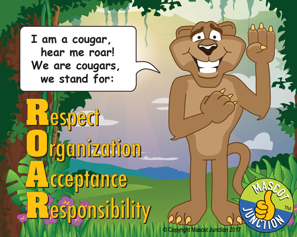 ROAR poster pledge cougar mascot