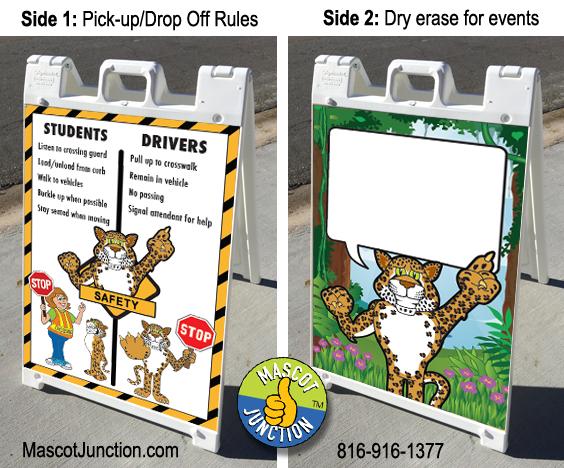 A-frame sign cheetah mascot school
