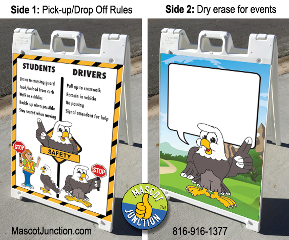 Eagle Mascot A-frame Sign PBIS School