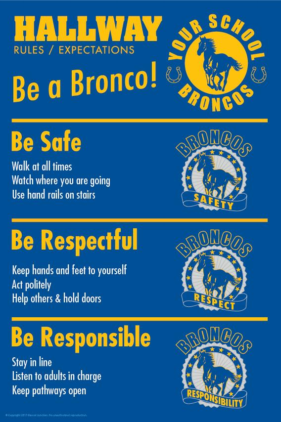 Bronco Rules Poster Hallway