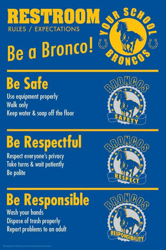 Bronco Rules Poster Restroom