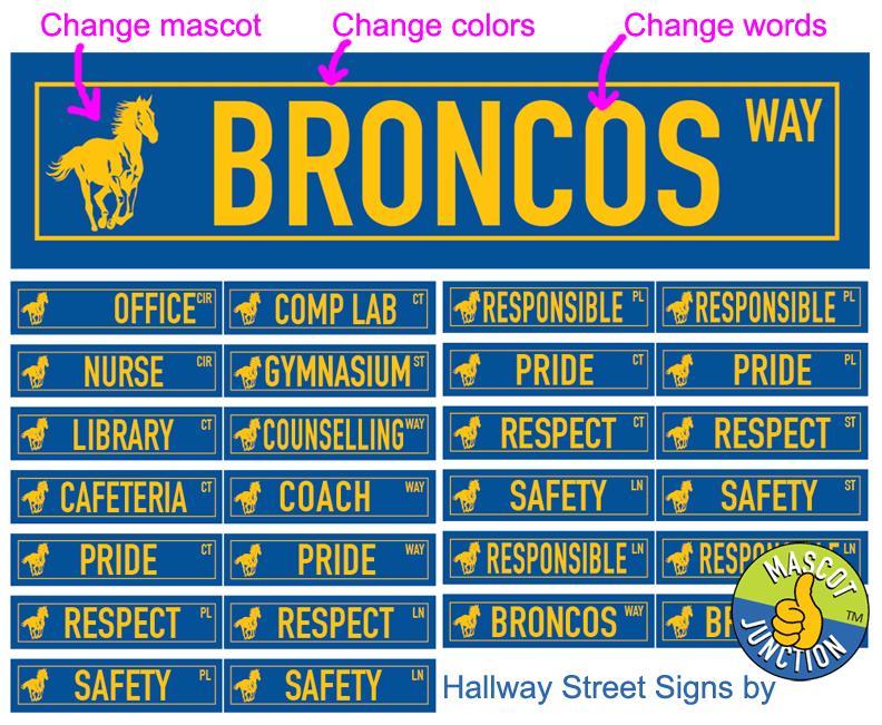 Hallway Street Signs Broncos