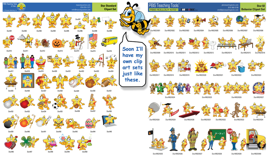 Bee Mascot 2 Clip Art Sets