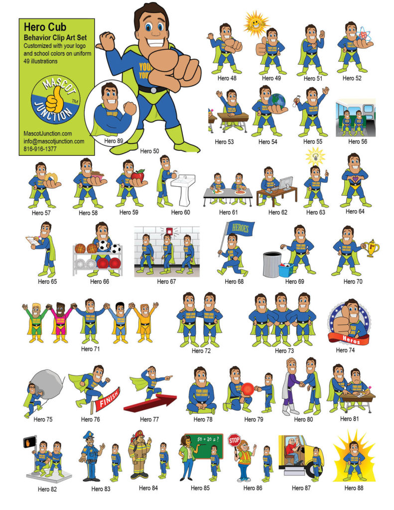 Hero Mascot Clip Art Behavior Set