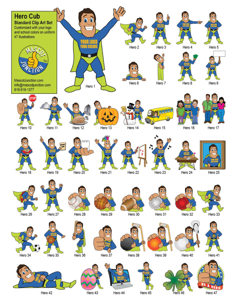 Hero Mascot Clip Art Standard Set