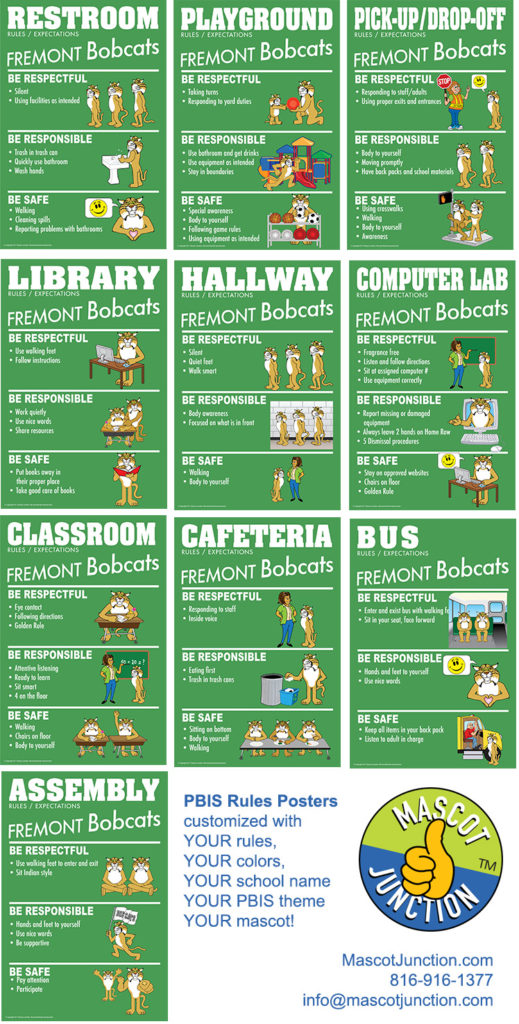 PBIS Rule Posters Bobcat Mascot