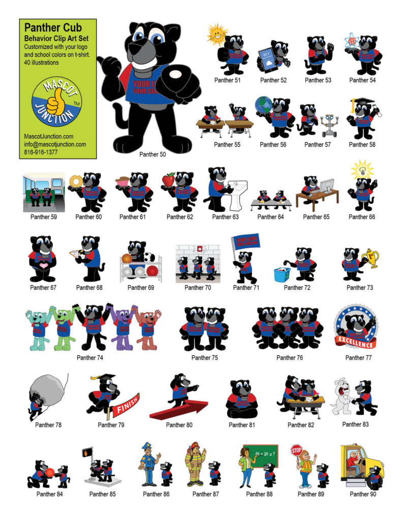 Panther Mascot Clip Art Behavior Set