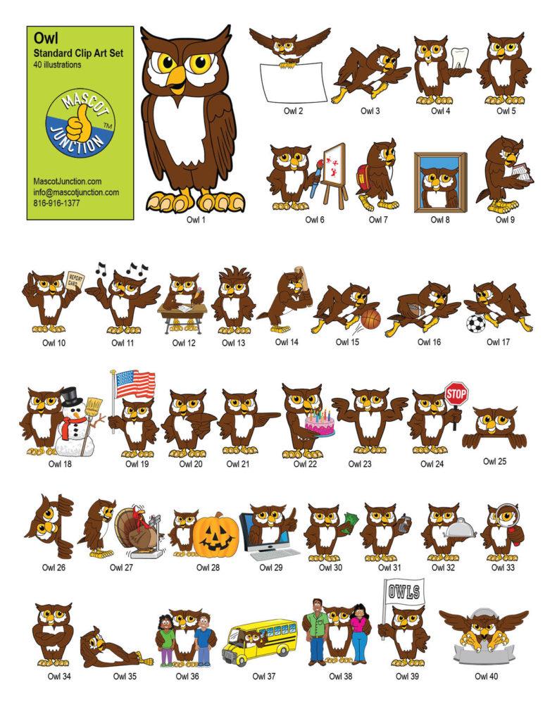 Owl Mascot Clip Art Standard Set