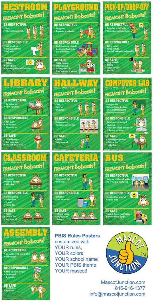PBIS Rules Posters Bobcat Mascot