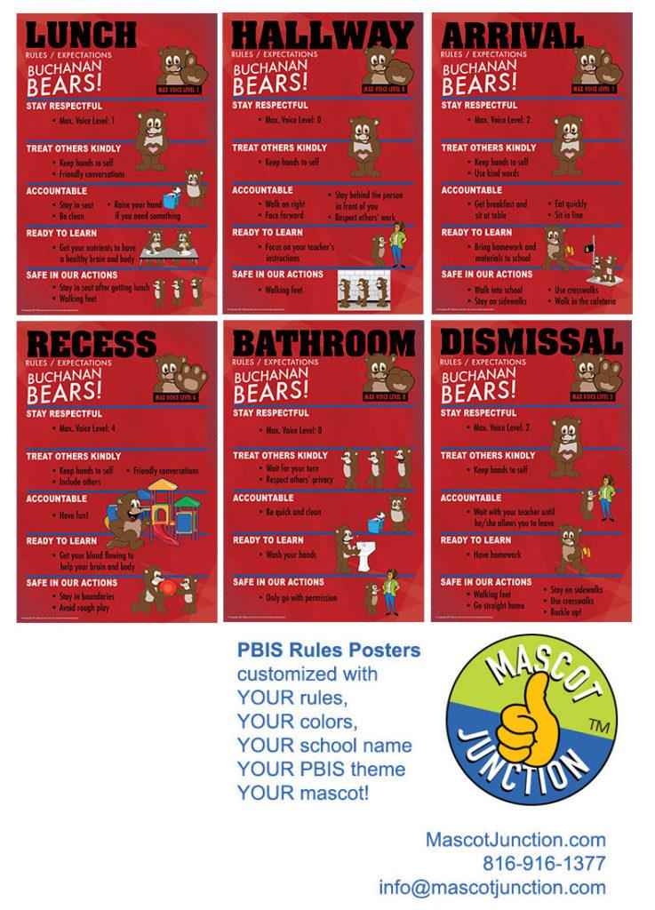 PBIS Rules Posters Brown Bear Mascot