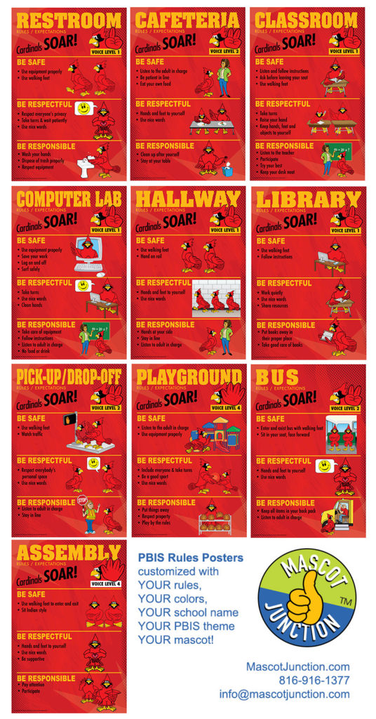 PBIS Rules Posters Cardinal Mascot