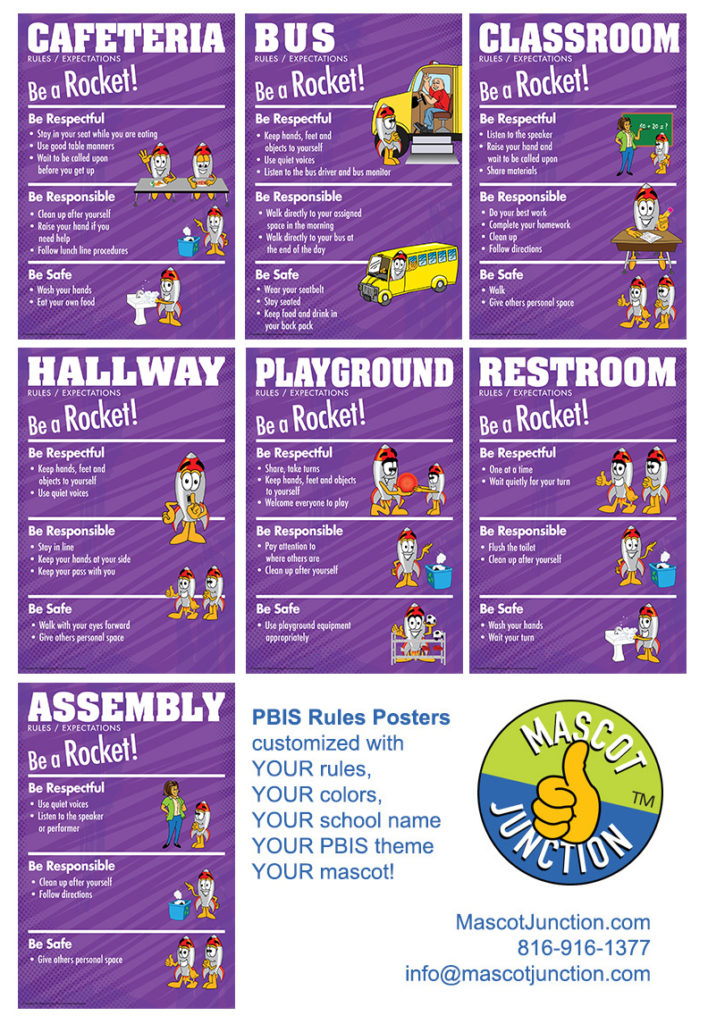 PBIS Rules Posters Rocket Mascot