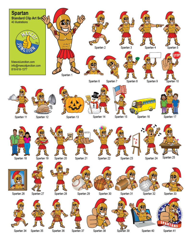 Spartan Mascot Clip Art Graphic Illustrations