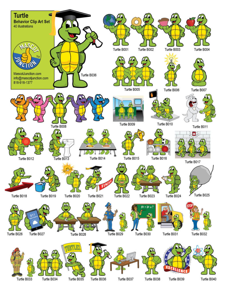 Cartoon Turtle Mascot Illustrations