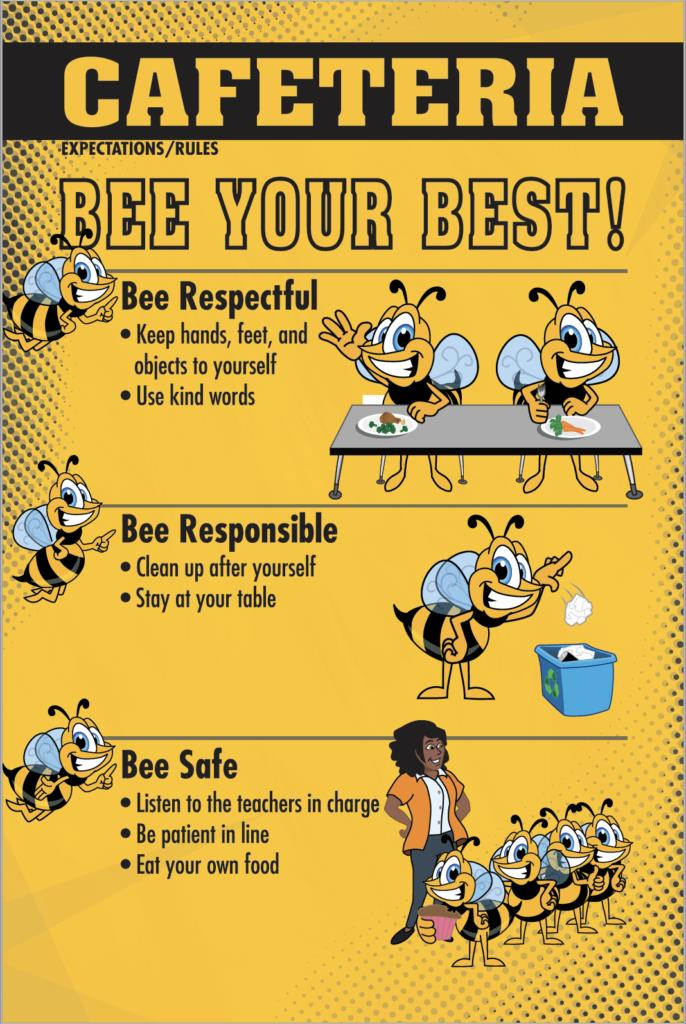 Cafeteria Rules Poster PBIS Bee Mascot