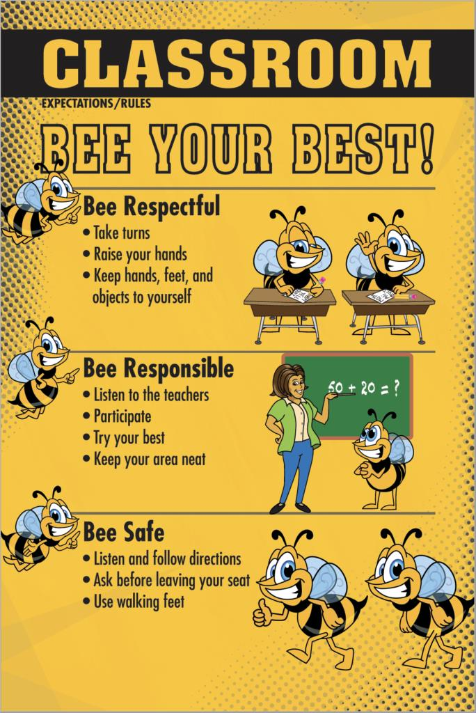 Classroom Rules Poster PBIS Bee Mascot