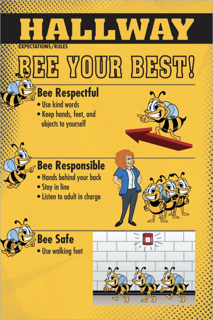Rules Poster Hallway Bee Mascot PBIS