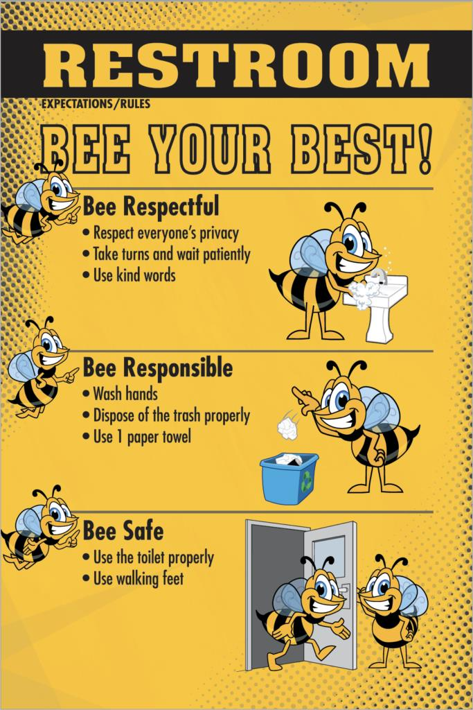 Restroom Rules Poster PBIS Bee Mascot