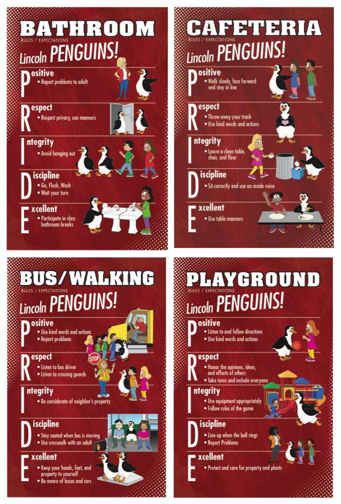 Rules Posters PBIS School Penguin