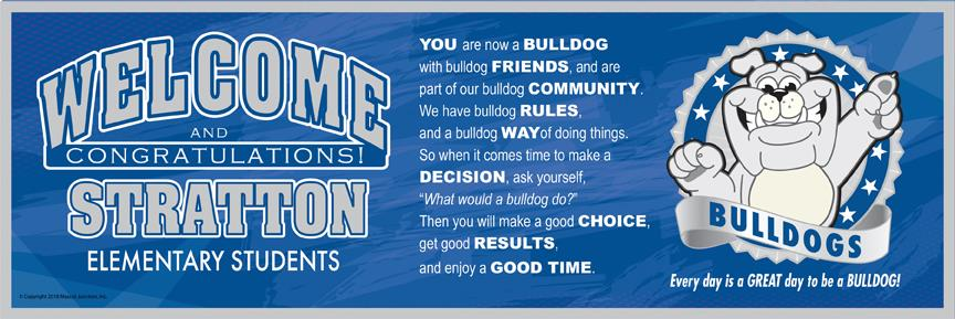 Bulldog Welcome Message Banner