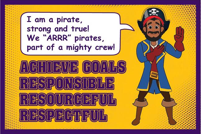 Pledge Poster Pirate Mascot