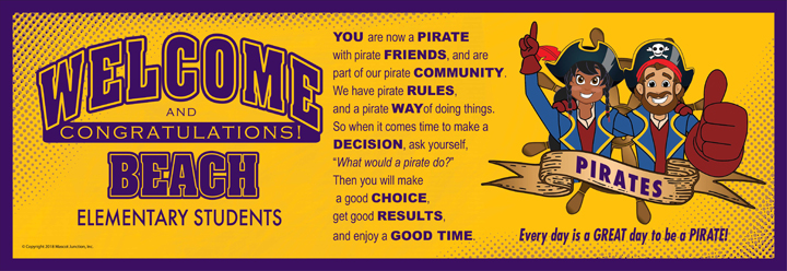 Welcome Banner Pirate Mascot