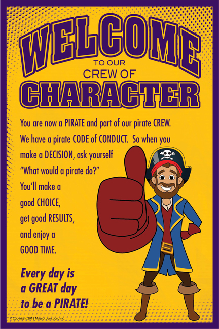 Welcome Poster Pirate Mascot