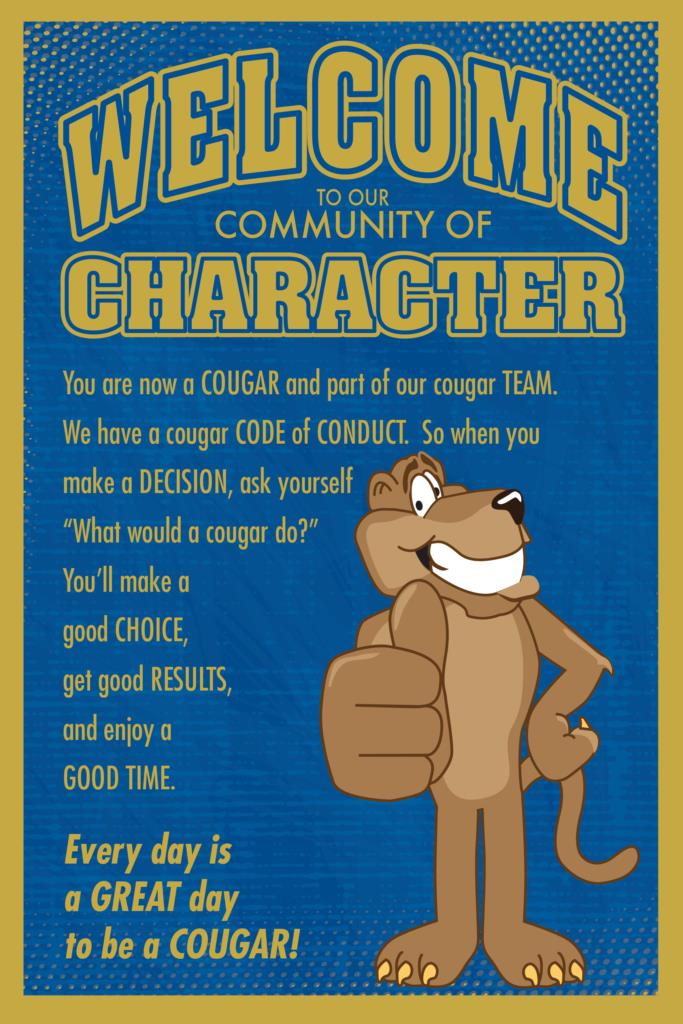 Welcome Poster Cougar Mascot Character