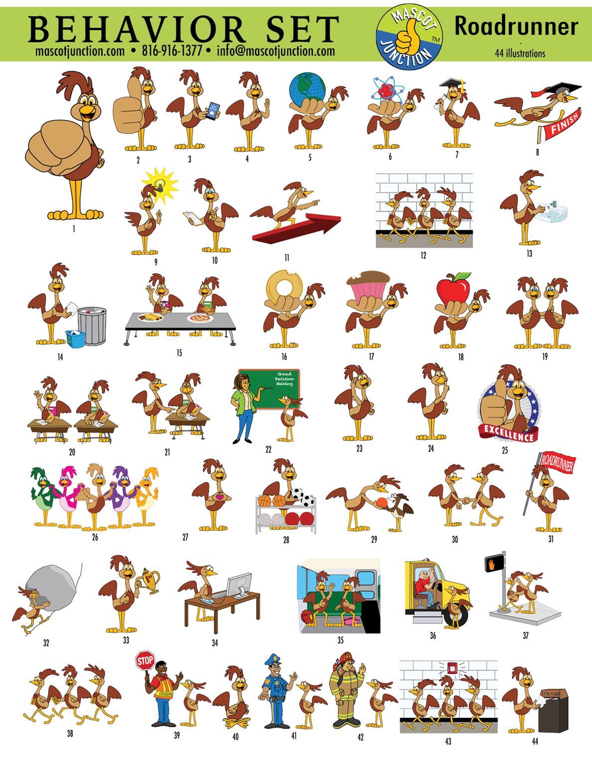 oadrunner Mascot Clip Art PBIS Schools