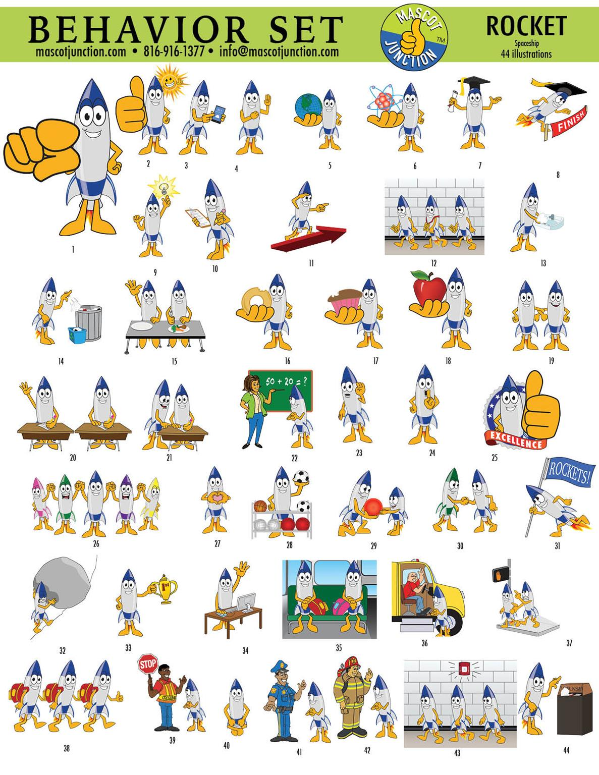 Rocket Mascot Clip Art Set Behavior PBIS
