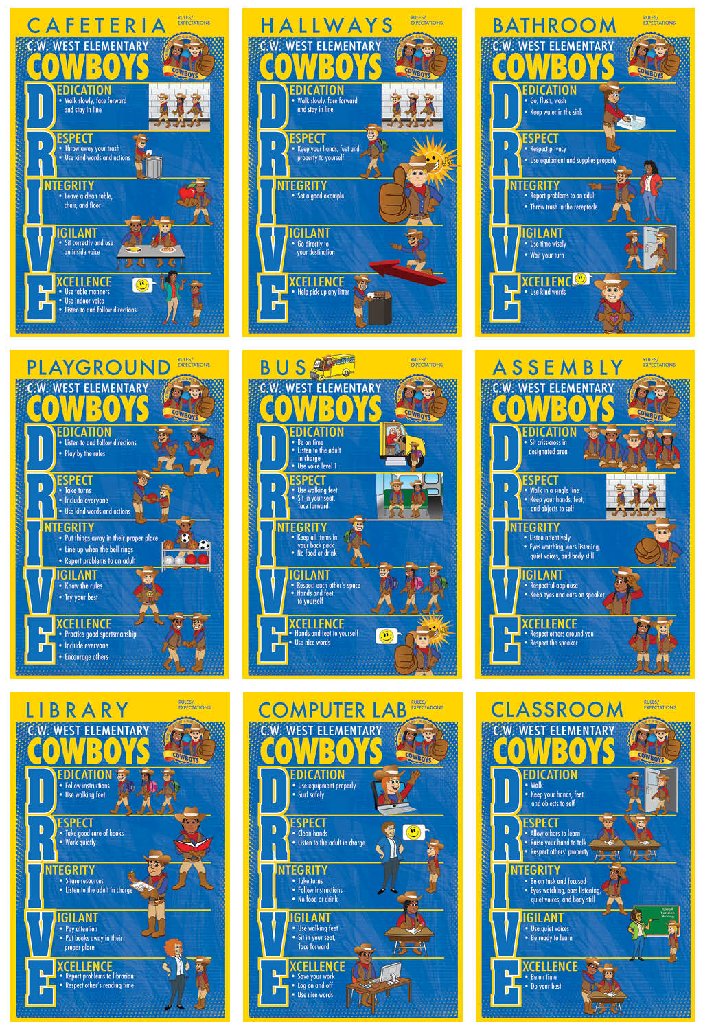 Cowgirl rules posters