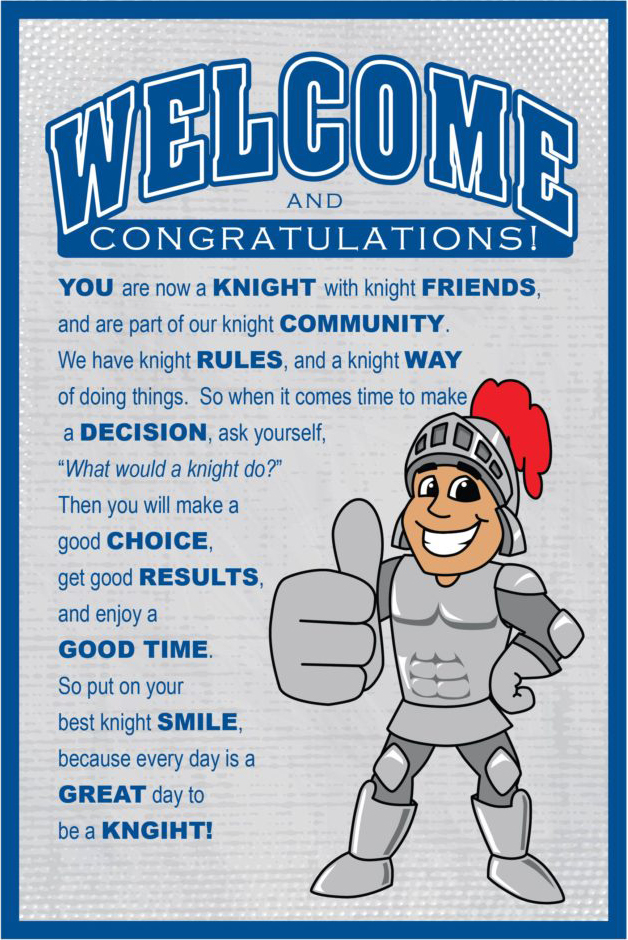 Welcome Poster Knight Mascot