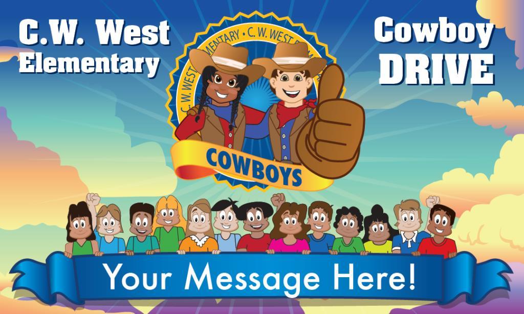 Cowboy School Mascot Banner