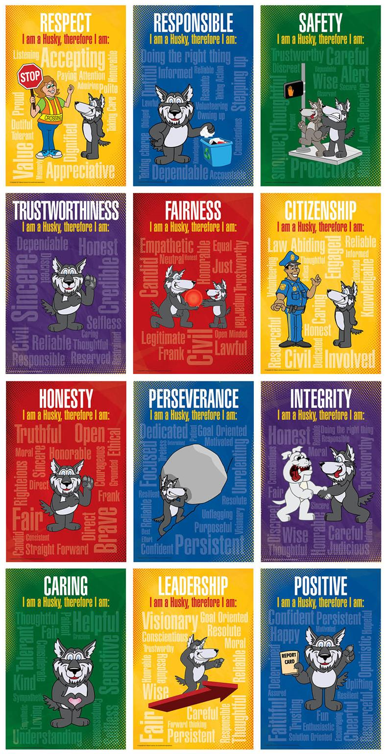 Character Trait Education Posters Word Cloud Husky