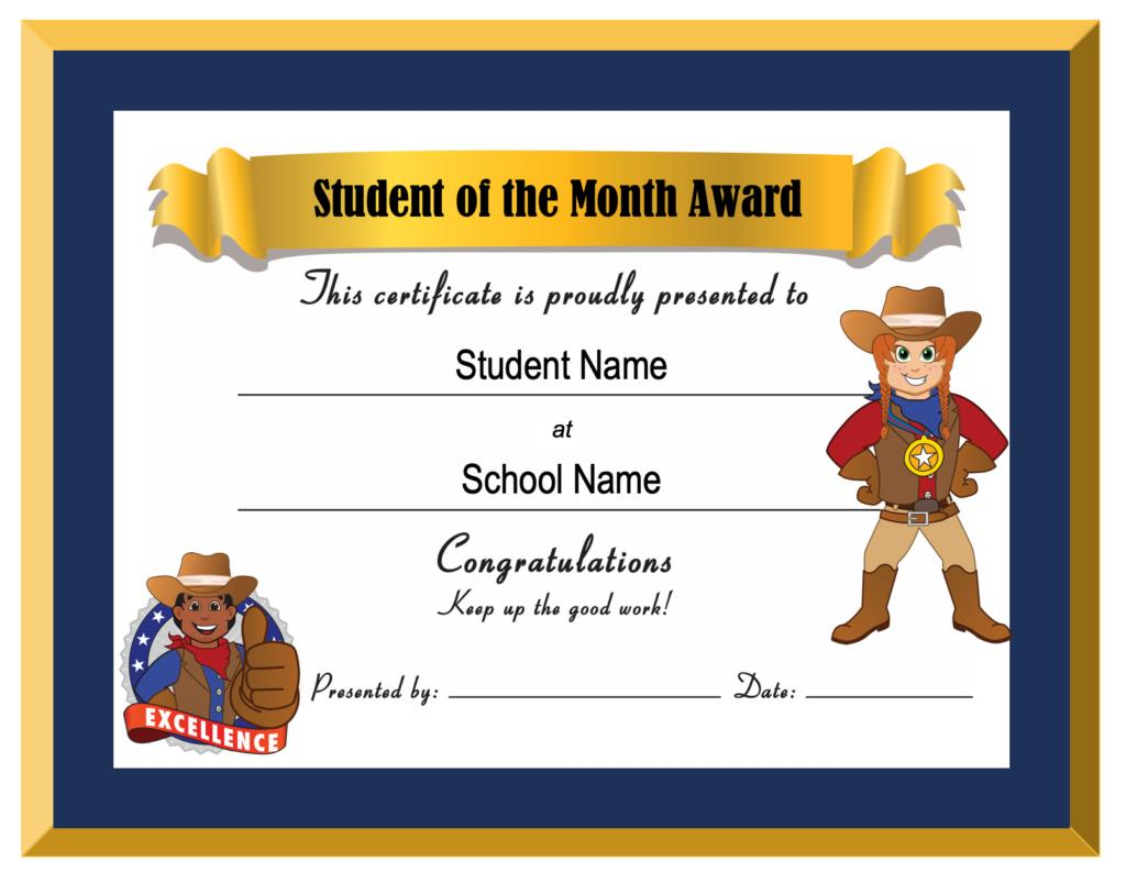 Student Month Award Certificate