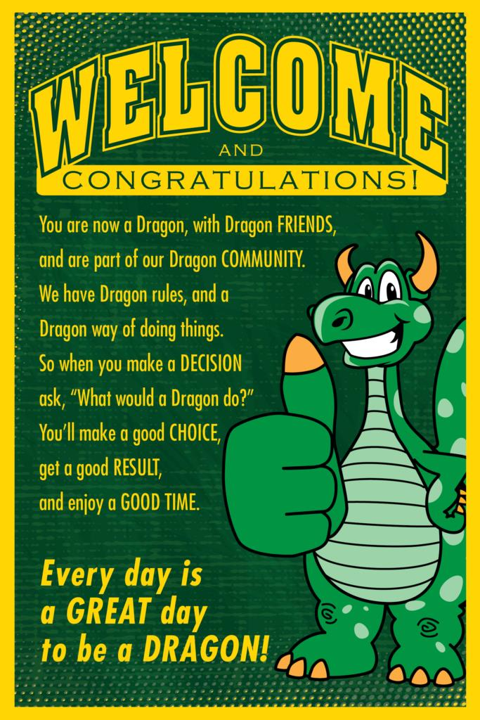 PBIS welcome poster Dragon mascot